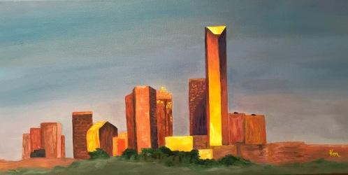 Okc skyline in oil