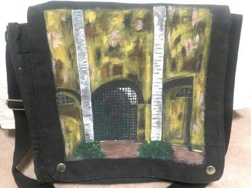 Fabric paints on canvas messenger bag